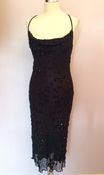 BLACK BEADED & SEQUINNED SILK STRAPPY COCKTAIL DRESS SIZE 10/12 - Whispers Dress Agency - Womens Dresses - 1