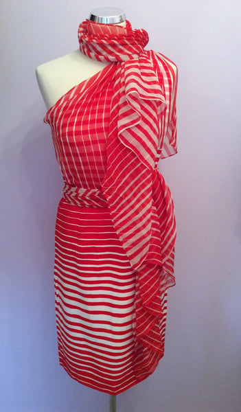 Louis Ferraud Red & White Stripe One Shoulder Dress Size 10 - Whispers Dress Agency - Sold - 1