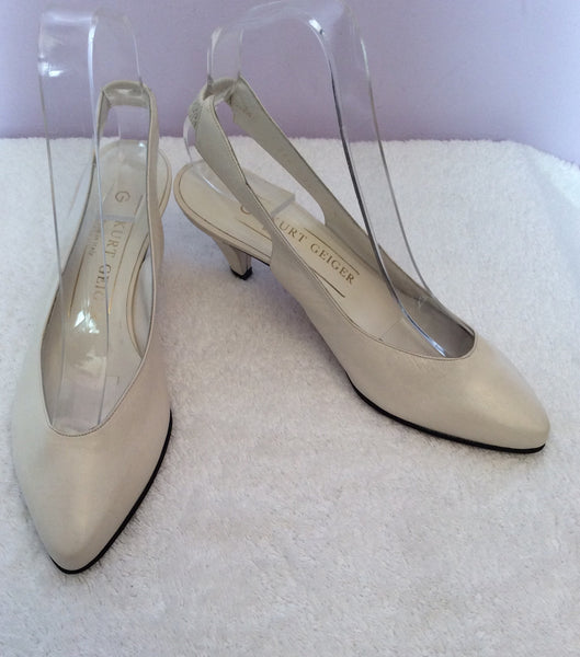 Vintage Kurt Geiger Cream Italian Leather Slingback Heels Size 3 /35.5 - Whispers Dress Agency - Sold - 1