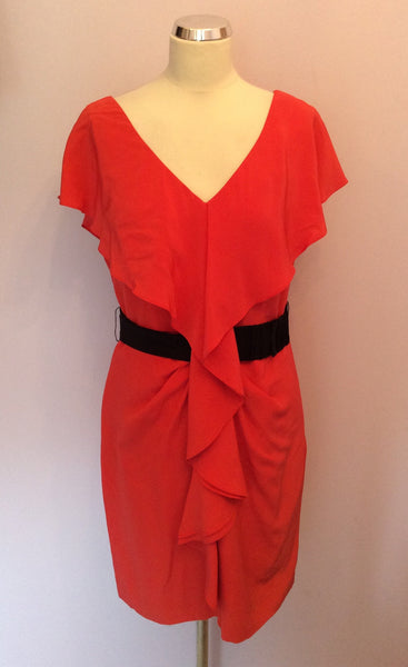 COAST CORAL RED SILK DRESS SIZE 14 - Whispers Dress Agency - Womens Dresses - 1