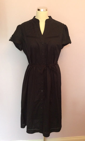Betty Jackson Black Cotton Shirt Dress Size 16 - Whispers Dress Agency - Sold - 1