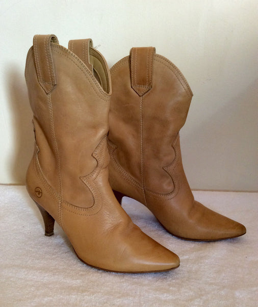 Bronx Camel Cowboy Style Leather Ankle Boots Size 3.5/36 - Whispers Dress Agency - Womens Boots - 1