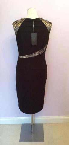 Brand New Alexon Black & Pale Gold Lace Trim Occasion Dress Size 14 - Whispers Dress Agency - Womens Dresses - 4