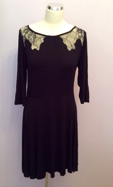 Brand New Phase Eight Black Lace Insert Dress Size 12 - Whispers Dress Agency - Sold - 1