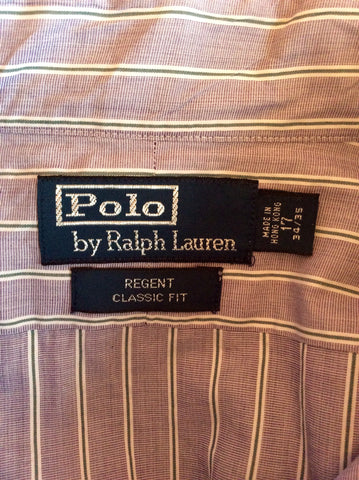 "Polo By Ralph Lauren Polo Purple Striped Shirt Size 17"" - Whispers Dress Agency - Mens Formal Shirts - 2"