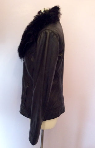 Brand New Ted Baker Black Leather Fur Collar Biker Jacket / Gilet Size 4 UK 12 - Whispers Dress Agency - Womens Coats & Jackets - 5