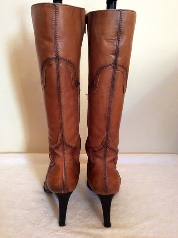 Bertie Tan Leather Slim Leg Boots Size 3.5/36 - Whispers Dress Agency - Womens Boots - 3