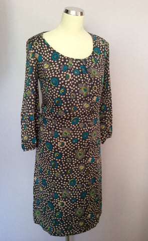 Brand New Boden Dark Grey Spot & Floral Print Florentine Tea Dress Size 6 - Whispers Dress Agency - Womens Dresses - 1