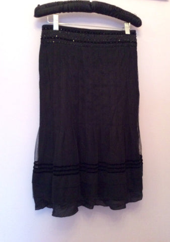BRAND NEW DAY BY BIRGER ET MIKKELSEN BLACK SEQUIN TRIM SKIRT SIZE 34 UK 6 - Whispers Dress Agency - Womens Skirts - 2