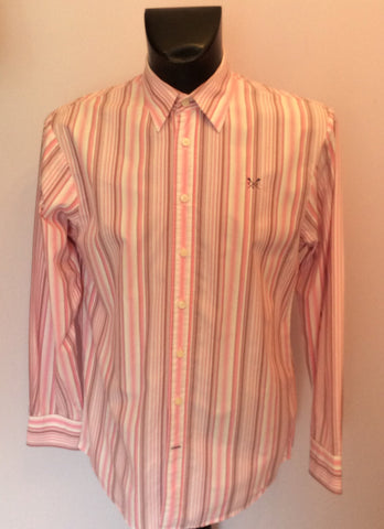 Crew Clothing Pink & White Stripe Long Sleeve Shirt Size M - Whispers Dress Agency - Mens Casual Shirts & Tops - 1