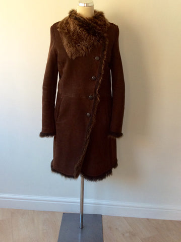 JOSEPH DARK BROWN LAMBSKIN COAT SIZE 40 UK 12 - Whispers Dress Agency - Womens Coats & Jackets - 2