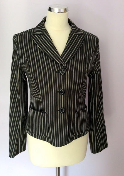 Hobbs Black & White Stripe Cotton Blend Jacket Size 10 - Whispers Dress Agency - Womens Coats & Jackets - 1