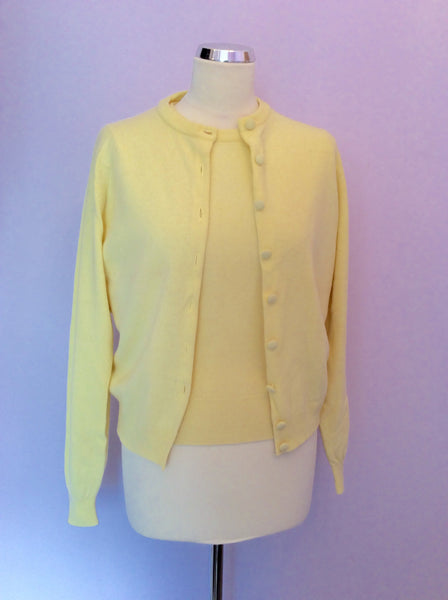 "VINTAGE JAEGER YELLOW LAMBSWOOL TWINSET SIZE 34"" UK S/M - Whispers Dress Agency - Womens Vintage - 1"