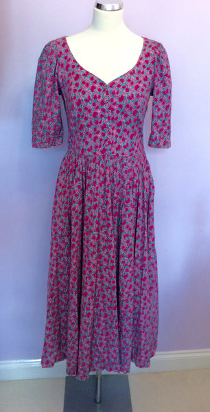 Vintage Laura Ashley Pink & Green Floral Print Cotton Dress Size 12 - Whispers Dress Agency - Sold - 1