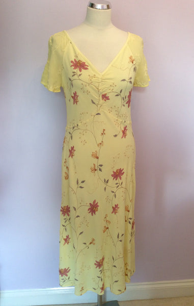 Ghost Yellow Embroidered Floral Dress Size M (UK 10/12) - Whispers Dress Agency - Sold - 1