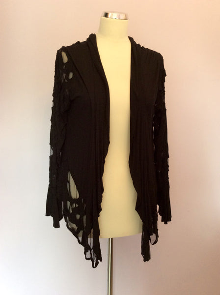 Religion Black Cut Out & Net Detail Cardigan Size M/12 - Whispers Dress Agency - Sold - 1