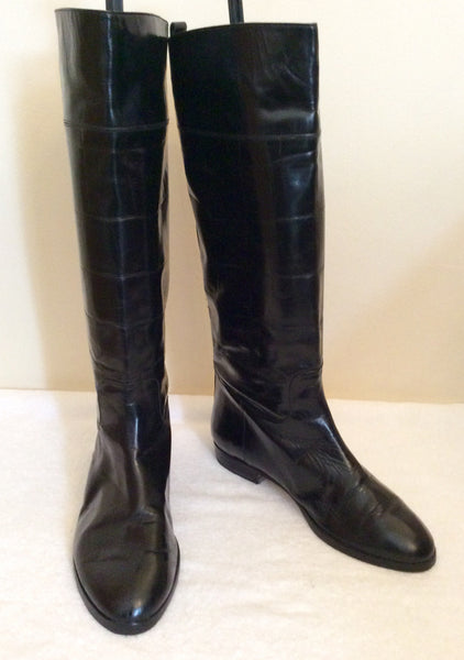 Bally Black Croc Design Highly Polised Leather Boots Size 4/37 - Whispers Dress Agency - Sold - 1