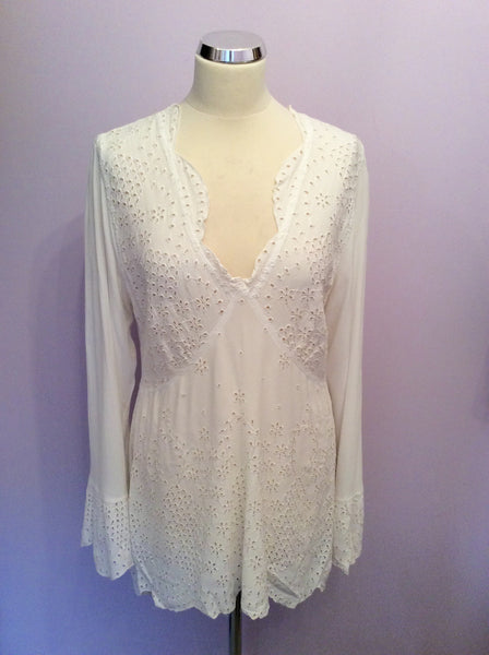 Ghost White Broidery Anglaise Top Size L - Whispers Dress Agency - Sold - 1