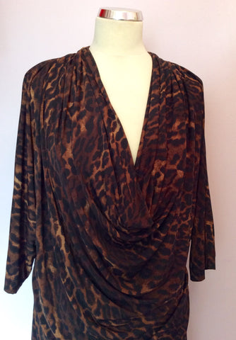 BRAND NEW BIBA BROWN LEOPARD PRINT COWL DRESS SIZE 16 - Whispers Dress Agency - Womens Dresses - 2