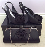 Debut Black Satin Peeptoe Slingback Heels Size 4/37 & Matching Clutch Bag - Whispers Dress Agency - Womens Heels - 2