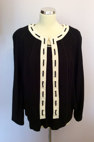 Basler Black & White Top & Matching Cardigan Size 18 - Whispers Dress Agency - Sold - 1