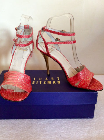 Brand New Stuart Weitzman Coral Pink & Gold Heel Sandals Size 5/38 - Whispers Dress Agency - Womens Sandals - 1