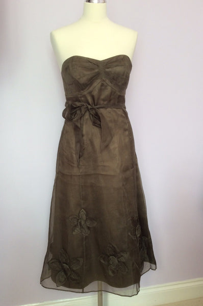 Coast Dark Green Organza Silk Flower Trim Strapless Dress Size 10 - Whispers Dress Agency - Womens Special Occasion - 1