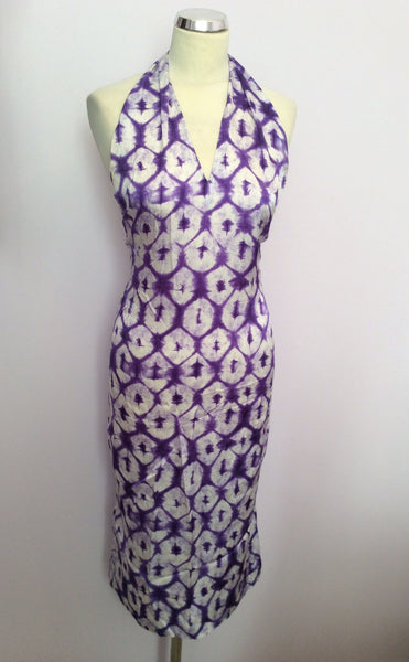 Joseph Purple & White Print Silk Halterneck Top Dress Size S - Whispers Dress Agency - Sold - 1