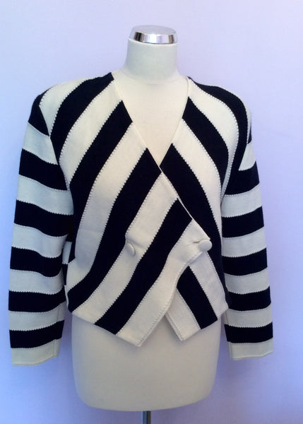 Vintage Rodier Navy Blue & Ivory Stripe Wool Blend Cardigan/Jacket Size 12 - Whispers Dress Agency - Womens Vintage - 1