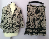 Adini Beige & Black Floral Print Cotton Skirt & Jacket Suit Size L2 UK 20 - Whispers Dress Agency - Womens Suits & Tailoring - 1