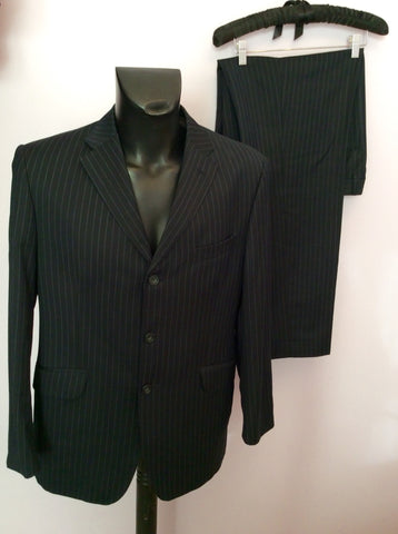 Marks & Spencer Sartorial Navy Blue Pinstripe Suit Size 40S/ 34W - Whispers Dress Agency - Mens Suits & Tailoring - 1