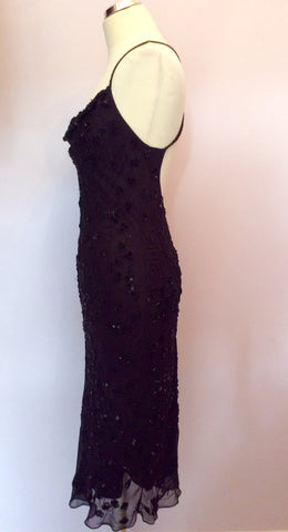 BLACK BEADED & SEQUINNED SILK STRAPPY COCKTAIL DRESS SIZE 10/12 - Whispers Dress Agency - Womens Dresses - 3