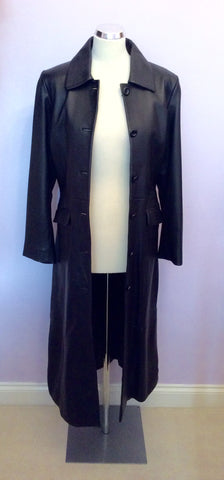 BRAND NEW BENNYS SHOP BLACK SOFT LEATHER LONG COAT SIZE S - Whispers Dress Agency - Womens Coats & Jackets - 5