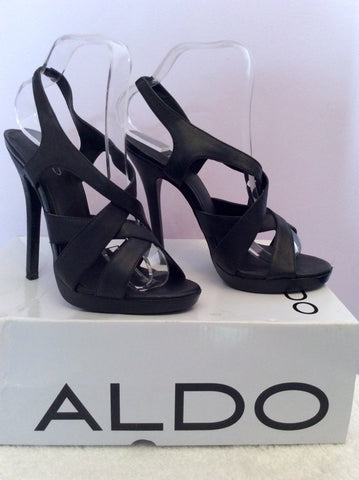 Aldo Latasha Black Leather Strappy Heel Sandals Size 5/38 - Whispers Dress Agency - Womens Sandals - 2