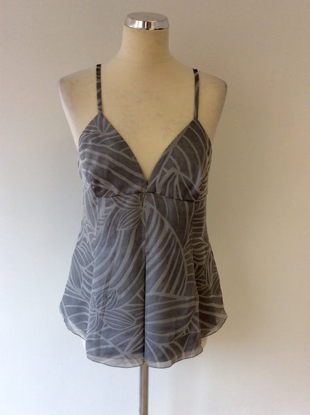 ARMANI EXCHANGE GREY PRINT SILK CAMISOLE TOP SIZE 46 UK 14 - Whispers Dress Agency - Sold - 1