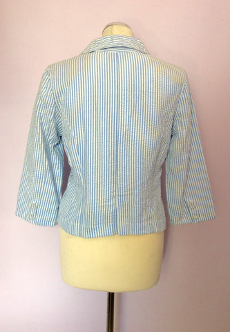 Brand New Laura Ashley Blue & White Stripe Cotton Jacket Size 10 - Whispers Dress Agency - Womens Suits & Tailoring - 2