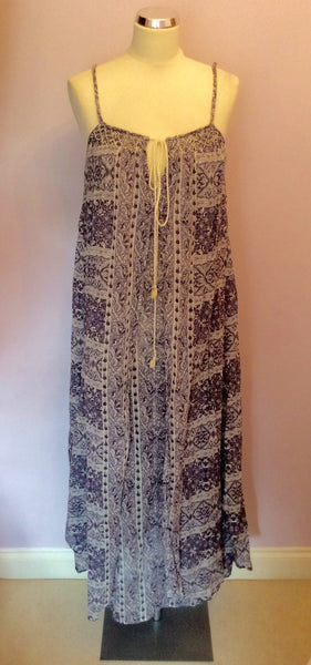 Monsoon Purple & White Print Cotton Maxi Dress Size S - Whispers Dress Agency - Womens Dresses - 1