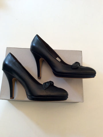 BRAND NEW FRENCH CONNECTION BLACK LEATHER HEELS SIZE 3.5/36 - Whispers Dress Agency - Womens Heels - 3