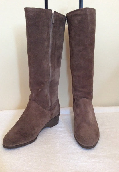 Brand New Richard Draper Brown Suede Sheepskin Lined Boots Size 5/38 - Whispers Dress Agency - Sold - 1