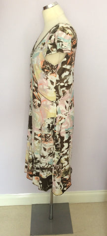 BETTY BARCLAY MULTICOLOURED PRINT V NECK DRESS SIZE 12 - Whispers Dress Agency - Womens Dresses - 2