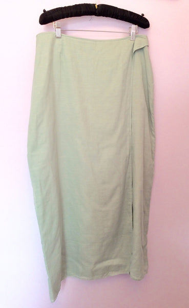 Nitya Duck Egg Cotton Wrap Across Skirt Size 18 Fit 16 - Whispers Dress Agency - Sold - 1