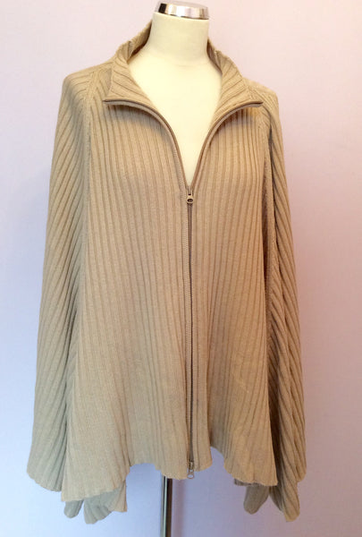 Nitya Beige Zip Up Poncho / Cardigan Size Approx L/XL - Whispers Dress Agency - Sold - 1