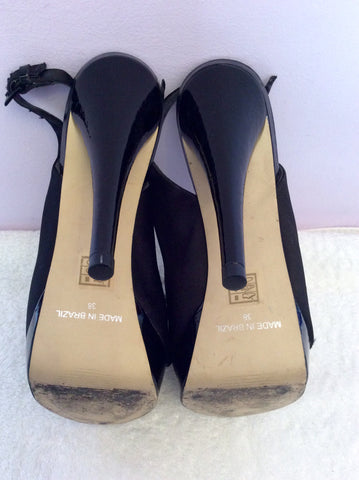 Carvela Black Satin Corsage Peeptoe Slingback Heels Size 5/38 - Whispers Dress Agency - Womens Heels - 5