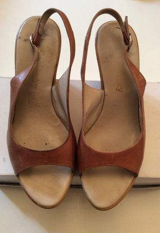 RUSSELL & BROMLEY TAN LEATHER WEDGE HEEL SANDALS SIZE 6/39 - Whispers Dress Agency - Womens Wedges - 1