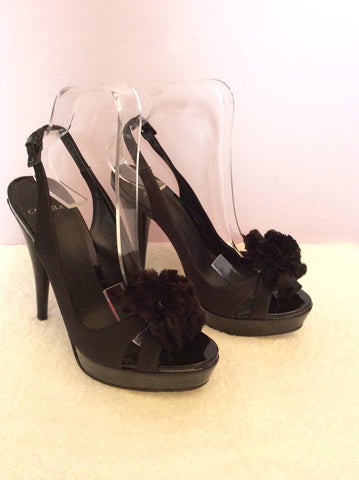 Carvela Black Satin Corsage Peeptoe Slingback Heels Size 5/38 - Whispers Dress Agency - Womens Heels - 1