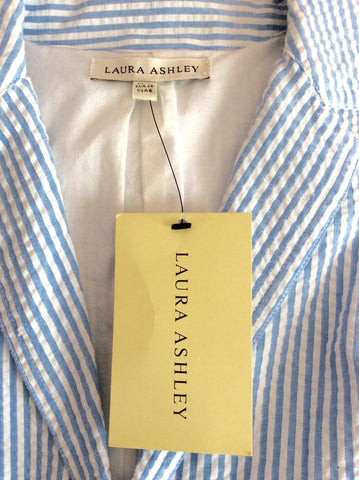 Brand New Laura Ashley Blue & White Stripe Cotton Jacket Size 10 - Whispers Dress Agency - Womens Suits & Tailoring - 3