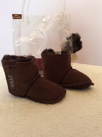 Brand New Just Sheepskin Brown Sheepskin Booties Size 0-6 Months - Whispers Dress Agency - Baby - 1
