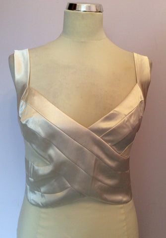 BRAND NEW DIVA CREAM SATIN TRIM WIGGLE PENCIL DRESS SIZE L - Whispers Dress Agency - Womens Dresses - 2