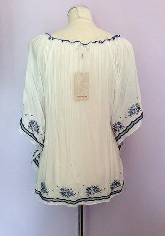 BRAND NEW MONSOON WHITE & BLUE EMBROIDERED TOP SIZE 18 - Whispers Dress Agency - Sold - 3