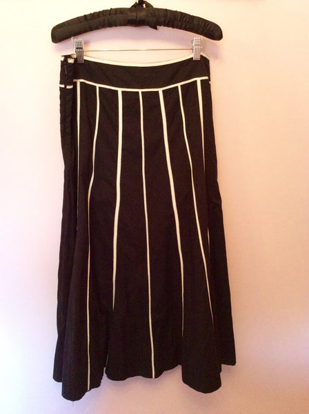 Marks & Spencer Black & White Stripe Calf Length Skirt Size 14 - Whispers Dress Agency - Womens Skirts